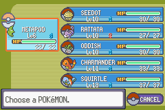 Pokemon Rebirth - Menus Pokemon Team - After 1st Gym (Nuzlocke) - User Screenshot
