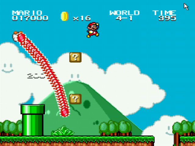 Super Mario Bros II 1998 (hack) - Misc Glitch. - Lakitu W 4-1 spiny glitch - User Screenshot