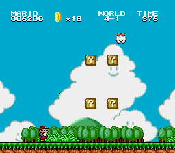 Super Mario Bros II 1998 (hack) - Level World 4-1 - Is that part of the cloud green? - User Screenshot