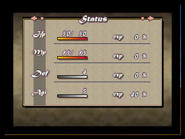 Quest 64 - Character Profile Status Screen - The four main stats you can increase in-game. - User Screenshot