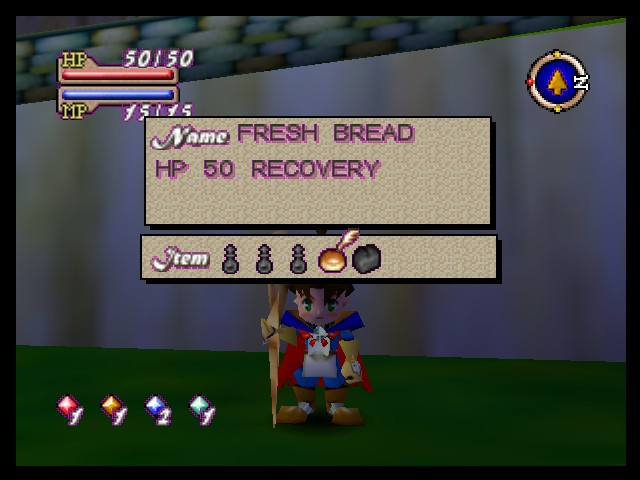 Quest 64 - Menus  - Look at item menu, HP/MP, etc. - User Screenshot