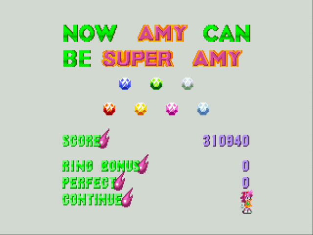 Sonic 3 & Amy Rose - Mini-Game Special Stage - Got all emeralds; SUPER AMY! - User Screenshot