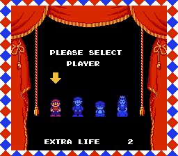 Super Mario Bros 2 - 2nd Run - Character Select  - Mario, Luigi, Toad or Princess - User Screenshot