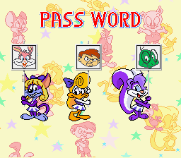 Tiny Toon Adventures - Wacky Sports Challenge - Misc Final Password - Use this to unlock all levels (+ more) - User Screenshot