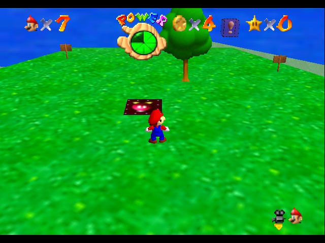 Super Mario 64 - Level Bob-omb Battlefield - On the island cannonless for the win! - User Screenshot