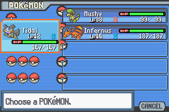 Pokemon Light Platinum - Character Profile Pokemon Team - 4 Gym Badges Collected - User Screenshot