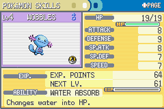 Pokemon Fire Red - Generations (v1.5) - Character Profile WOBBLES THE WOOPER! - Tribute to wobbles! - User Screenshot