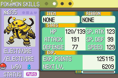 Pokemon Light Platinum - Character Profile during EV training - Proud of my electivire! - User Screenshot