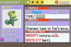Pokemon Light Platinum - Character Profile Shiny glitch - Thing kecleon should have a blue stripe.. - User Screenshot