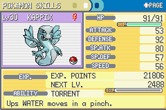 Pokemon Turquoise (beta 1.2) - Character Profile Kappix (Water-Ice) - The third evolution of the water starter - User Screenshot