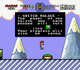 Super Mario World - Secret of the 7 Golden Statues - Misc completed level - lol mario standing on air - User Screenshot