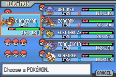 Pokemon Light Platinum - Character Profile Team - Level Differences... - User Screenshot