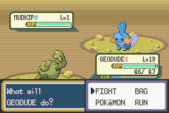 Pokemon Shiny Gold - Battle  - I found the Wild Mudkip. - User Screenshot