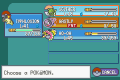 Pokemon Shiny Gold - Menus Pokemon Team - Caught Ho-oh with 3 pokemon - User Screenshot
