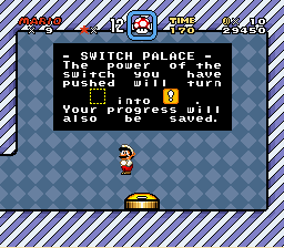Super Mario World - Cut-Scene  - YAY!!!! I pressed a switch... - User Screenshot