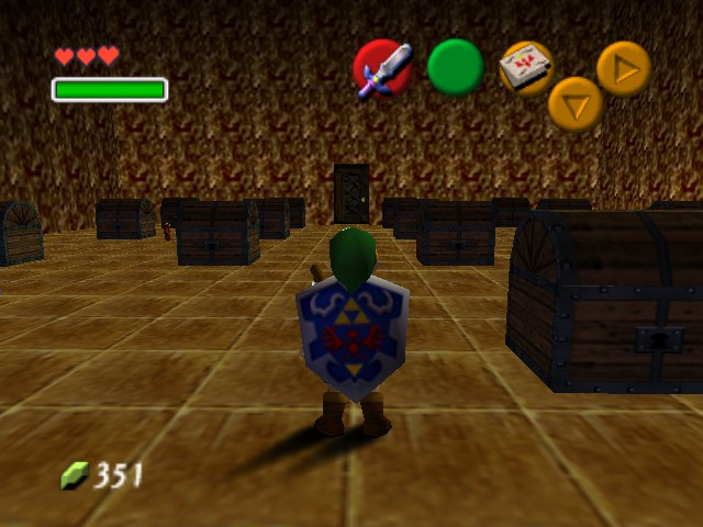 The Legend of Zelda - Ocarina of Time (Debug Edition) - Level beta test room - bunch of chests - User Screenshot