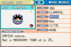 Pokemon Shiny Gold - shiney clamperl!!!!!!!!!!!!!! - User Screenshot