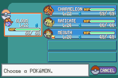 Pokemon Fire Red - Character Profile Team MEnu -  - User Screenshot