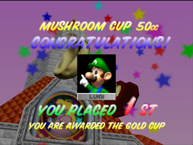 Mario Kart 64 - Misc Victory - Victory for Luigi. - User Screenshot