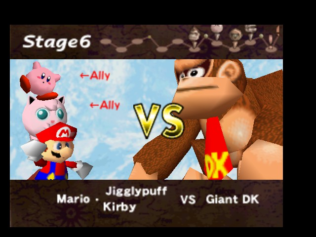 Super Smash Bros. - Battle  - Mario & Kirby & Jigglypuff VS Giant DK - User Screenshot