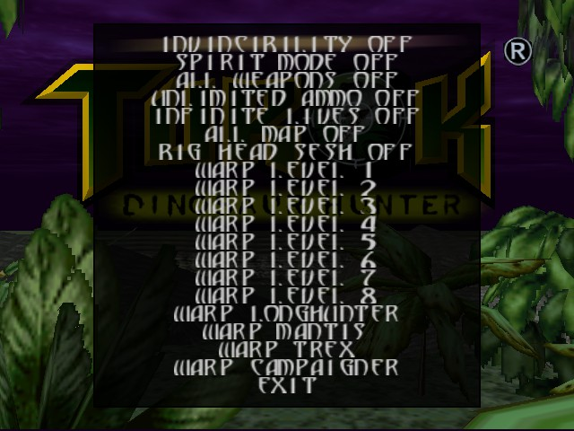 Turok - Dinosaur Hunter - Menus Cheat Menu - Cheating makes this game fun. - User Screenshot