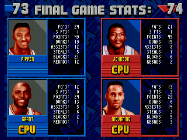 NBA Jam - Gameover  - pippins losing quadruple double  - User Screenshot