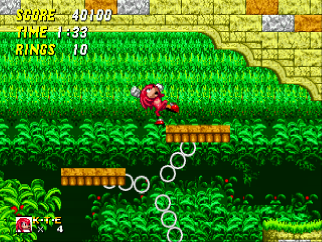 Sonic and Knuckles & Sonic 2 - Level  - Knuckles hovering in air! - User Screenshot