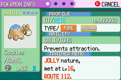 Pokemon Tiberium - Character Profile Shiny Numel - sweet - User Screenshot