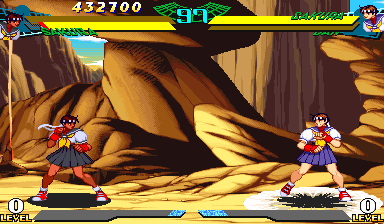 Marvel Super Heroes Vs. Street Fighter (Euro 970625) - Battle  - Sakura evil against normal, WOOT! - User Screenshot