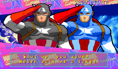 Marvel Super Heroes Vs. Street Fighter (Euro 970625) - Cut-Scene  - lol Double  salute - User Screenshot