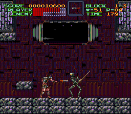 Super Castlevania IV - Throwing knives at a skeleton - User Screenshot