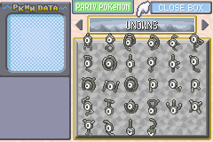 Pokemon Rebirth - All the Unowns in order. - User Screenshot