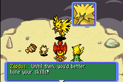 Pokemon Mystery Dungeon - Red Rescue Team - Battle  - zapdos got beaten by a zigzagoon ONLY. - User Screenshot