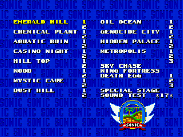 Sonic 2 Long Version - Level Select  - Level Select :) - User Screenshot