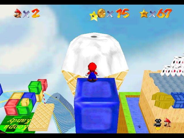 Super Mario 64 - Star Road - Level  - a star on top of an ice cream cone? Thats new - User Screenshot