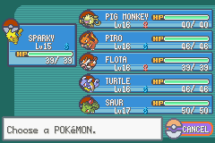 Pokemon Fire Red 3 in 1 - Menus  - my team after misty - User Screenshot