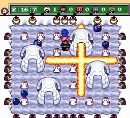 Bomberman (blue) -Level Snow:bombs everywhere :S - User Screenshot