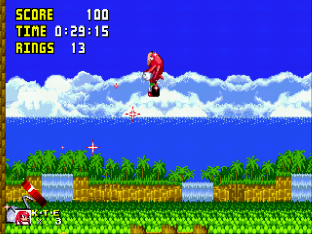 Sonic 1 Megamix (beta 4.0) - Level Level - Its a car its a plane no...ITS KNUCKLES STAR  - User Screenshot