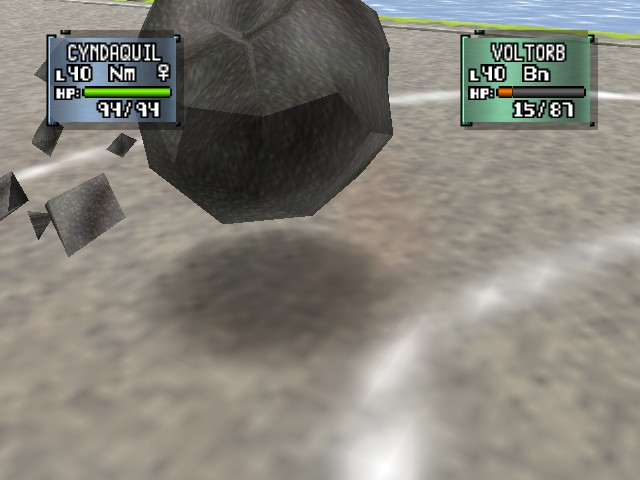 Pokemon Stadium 2 - Battle  - Cyndaquil turned to stone! - User Screenshot