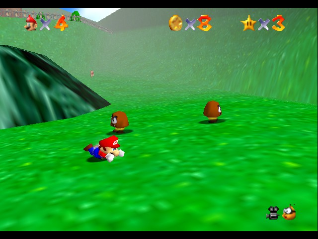 Super Mario 64 - Level Beat Level 1 - sliding backwards.... im to fat to get up - User Screenshot