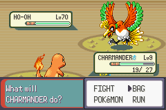 Pokemon Rebirth - Battle  - catching ho oh with a pokeball at full health - User Screenshot