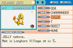 Pokemon Dark Cry - The Legend of Giratina (Alpha) - Character Profile charmander - i got a shiny starter!! :D - User Screenshot