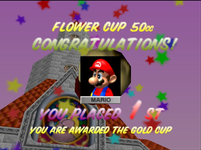 Mario Kart 64 - Ending  - my brother is first in this game he is ever - User Screenshot