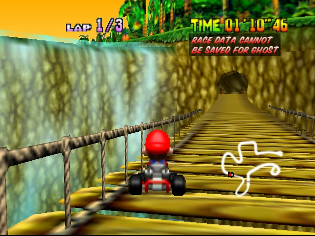 Mario Kart 64 - Level DK Jungle Parkway - Waterfall - User Screenshot