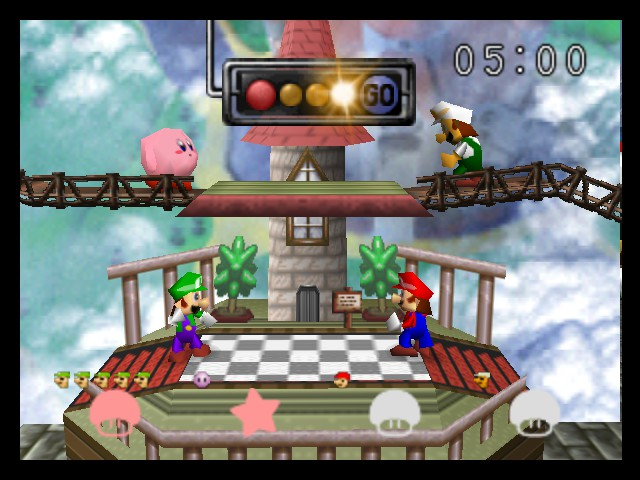 Super Smash Bros. - Battle  - kirby y luigi vs mario y fire luigi - User Screenshot