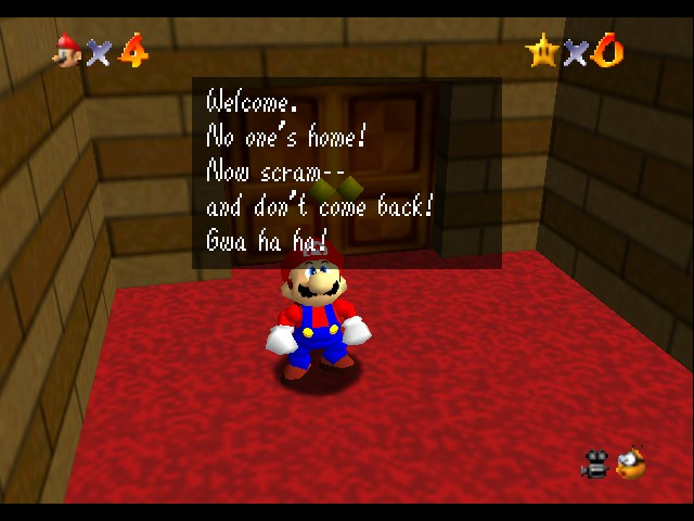 Super Mario 64 - Cut-Scene  - How can nobody be home if someone is talking? - User Screenshot