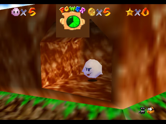 Super Mario 64 - Kirby Edition - Level Bob-Omb Battlefield - Kirby is in Boo Form! Wait.... - User Screenshot