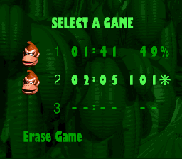 Donkey Kong Country - Menus  - 101 percent! - User Screenshot