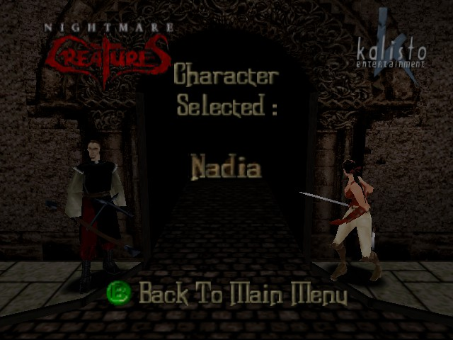 Nightmare Creatures - Character Select  - Female Hero - User Screenshot