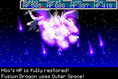 Golden Sun - Battle  - The final form of the last boss going up. - User Screenshot